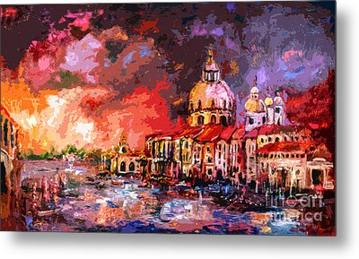 Venice Canal Italy  Metal Print by Ginette Callaway