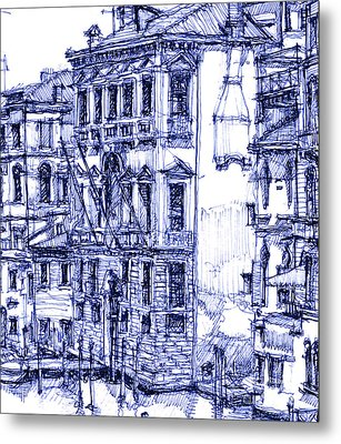 Venice Detail In Blue Metal Print by Building  Art