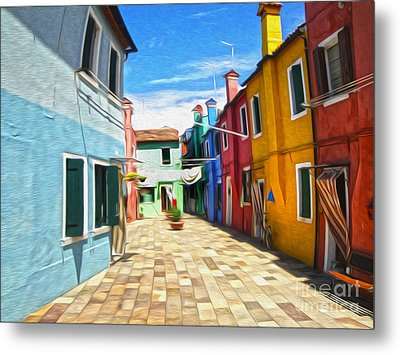 Venice Italy - Burano Island Alley Metal Print by Gregory Dyer