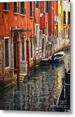 Venice Italy - Quiet Canal Metal Print by Gregory Dyer