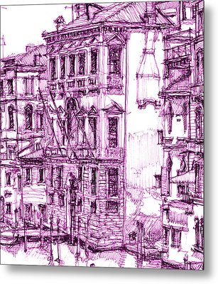 Venice Palace In Purple Metal Print by Building  Art