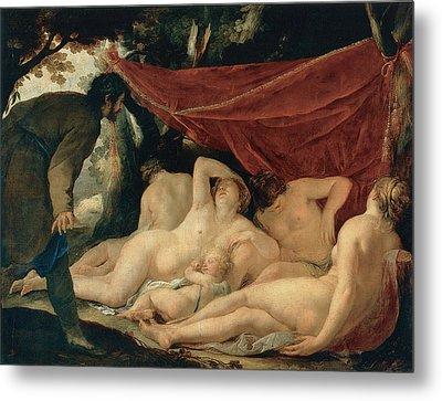 Venus And The Graces Surprised By A Mortal Metal Print by Jacques Blanchard