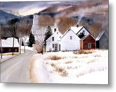 Vermont Winter Village Metal Print by Karol Wyckoff