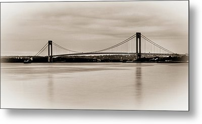 Verrazano-narrows Bridge B-w Metal Print by David Hahn