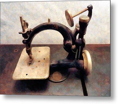 Victorian Sewing Machine Metal Print by Susan Savad