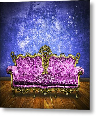Victorian Sofa In Retro Room Metal Print by Setsiri Silapasuwanchai