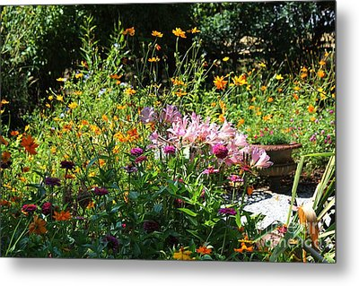 Victorian Summer Garden Metal Print by Theresa Willingham