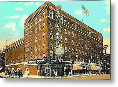 Victory Theatre And Hotel Sonntag In Evansville In 1920 Metal Print by Dwight Goss
