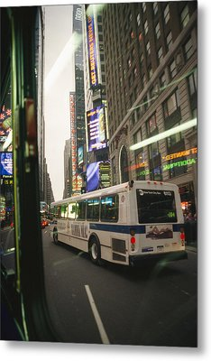 View Of A New York City Bus Metal Print by Gina Martin