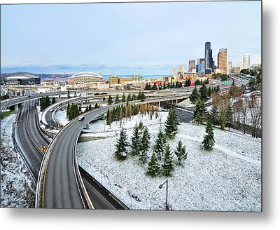 View Of City In Winter Metal Print by Hai Huu Thanh Nguyen