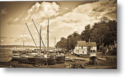 View Of Pin Mill From King's Yard Sepia Metal Print by Gary Eason