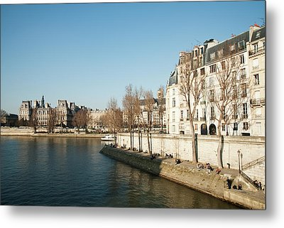 View Of Seine River, Paris Metal Print by Carlo A