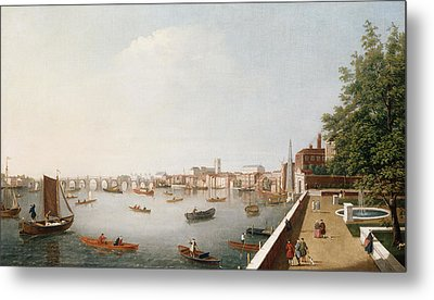 View Of The River Thames From The Adelphi Terrace  Metal Print by William James
