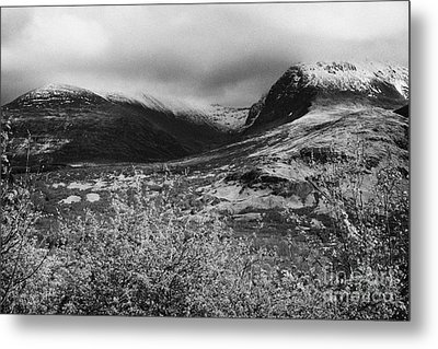 View Of The Summit Of Ben Nevis Snow Capped And Shrouded In Mist In Spring Near Fort William Scotlan Metal Print by Joe Fox