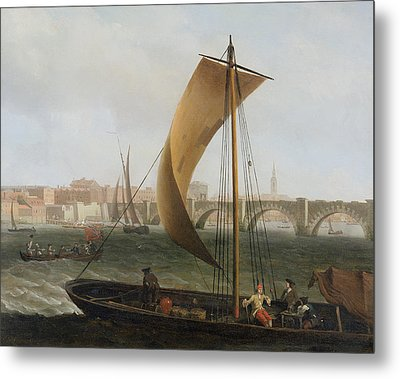 View On The Thames With Westminster Bridge Metal Print by Samuel Scott