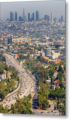 View Over Hollywood & Downtown Los Angeles Metal Print by Photograph by Geoffrey George