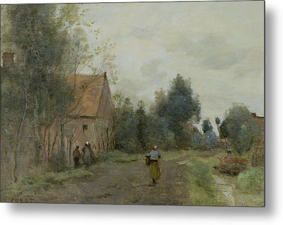 Village Street In The Morning Metal Print by Jean Baptiste Camille Corot
