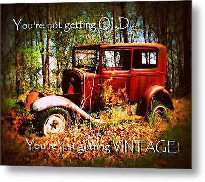 Vintage Birthday Greeting Metal Print by Cindy Wright