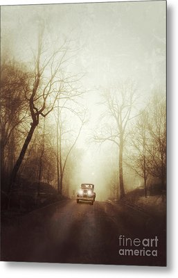 Vintage Car On Foggy Rural Road Metal Print by Jill Battaglia
