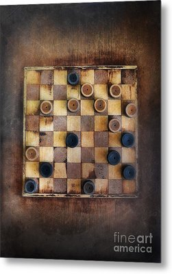 Vintage Checkers Game Metal Print by Jill Battaglia
