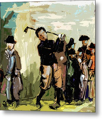 Vintage Golfer And Spectators Metal Print by Ginette Callaway