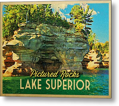 Vintage Lake Superior Pictured Rocks Metal Print by Flo Karp