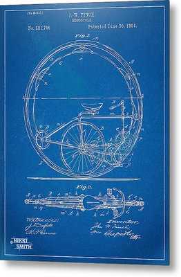 Vintage Monocycle Patent Artwork 1894 Metal Print by Nikki Marie Smith