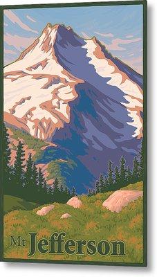 Vintage Mount Jefferson Travel Poster Metal Print by Mitch Frey