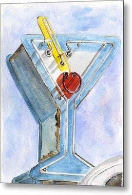 Vintage Neon- Martini Glass Metal Print by Sheryl Heatherly Hawkins
