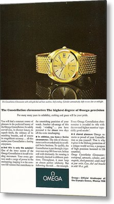 Vintage Omega Watch Metal Print by Georgia Fowler