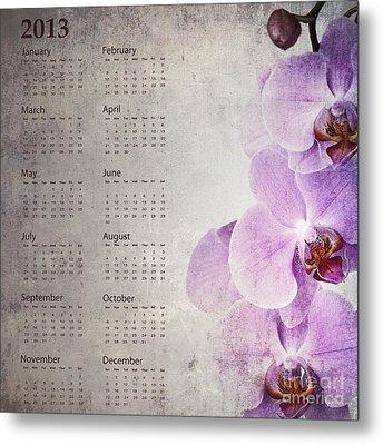 Vintage Orchid Calendar 2013 Metal Print by Jane Rix