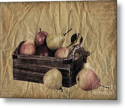Vintage Pears Metal Print by Jane Rix