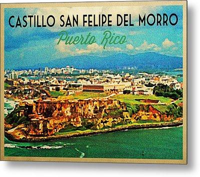 Vintage San Juan Puerto Rico Metal Print by Flo Karp