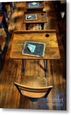 Vintage School Desks Metal Print by Jill Battaglia