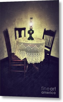Vintage Table And Chairs By Oil Lamp Light Metal Print by Jill Battaglia