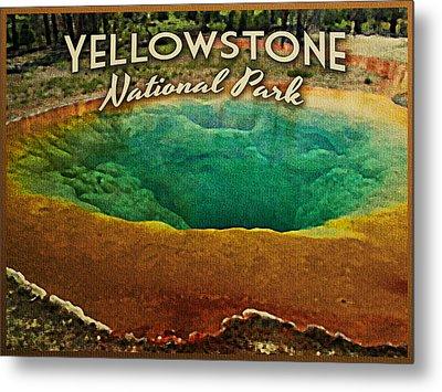 Vintage Yellowstone National Park Metal Print by Flo Karp