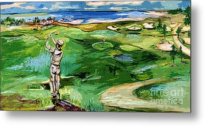 Vintge Golfer By The Sea Metal Print by Ginette Callaway