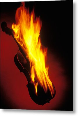 Violin On Fire Metal Print by Garry Gay