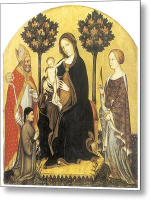 Virgin And Child Enthroned Metal Print by Gentile Da Fabriano