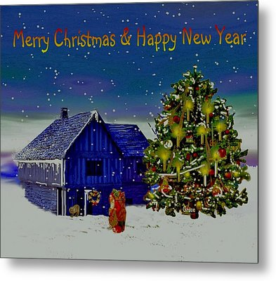 Visit From Santa Christmas Greeting Metal Print by Julie Grace