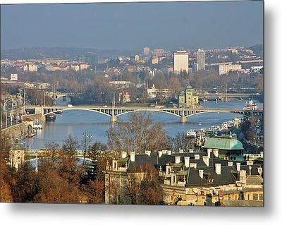 Vltava River In Prague - Tricky Laziness Metal Print by Christine Till