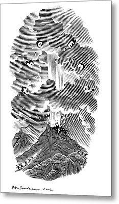 Volcanic Eruption, Artwork Metal Print by Bill Sanderson