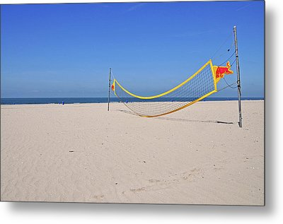 Volleyball Net On Beach Metal Print by Leuntje