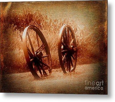 Wagon Wheels Metal Print by Ms Judi