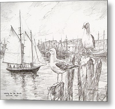 Waiting For The Boats Metal Print by Leslie Cope