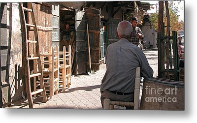 Waiting In Damascus Metal Print by Issam Hajjar