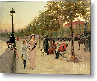 Walk Along The Embankment At Chelsea Metal Print by Frederick Brown