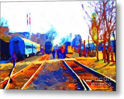 Walking On The Train Tracks In Old Sacramento California . Painterly . Vision 2 Metal Print by Wingsdomain Art and Photography