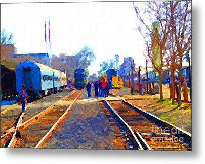 Walking On The Train Tracks In Old Sacramento California . Painterly Metal Print by Wingsdomain Art and Photography