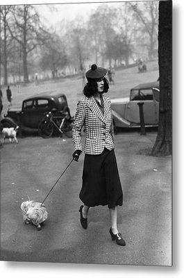 Walking The Dog Metal Print by H F Davis